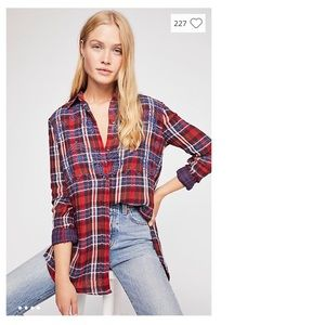 Free People Magical Plaid Button Down Top NWT